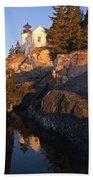 Bass Harbor Lighthouse Sunrise Acadia National Park Beach Towel