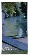 Bather About To Plunge Into The River Yerres Beach Towel