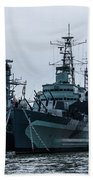 Battleship At Tower Bridge Beach Towel