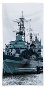 Battleships And Tugboat Beach Towel