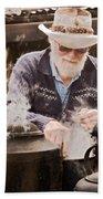 Bearded Miner Making Billy Tea Beach Towel