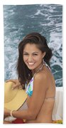 Beautiful Girl Boating Beach Towel