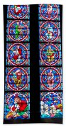 Beautiful Stained Glass At Notre Dame Cathedral Beach Towel