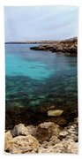 Beautiful View On Mediterranean Sea Cape Gkreko In Cyprus Beach Towel