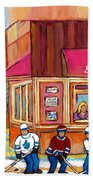 Beauty's Restaurant-montreal Street Scene Painting-hockey Game-hockeyart Beach Towel