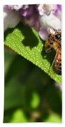 Bee At Work Beach Towel by Kaye Menner