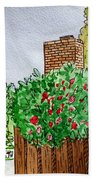 Behind The Fence Sketchbook Project Down My Street Beach Towel by Irina Sztukowski
