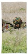 Belgian Paratroopers On Guard Beach Towel by Luc De Jaeger