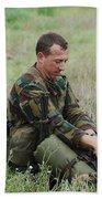 Belgian Paratroopers Red Berets Beach Towel by Luc De Jaeger