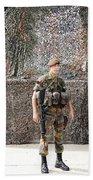 Belgian Soldier On Guard Beach Sheet