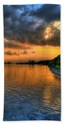 Sunset At Belle Isle Pier Detroit Mi Beach Towel