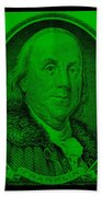 Ben Franklin In Green Beach Towel