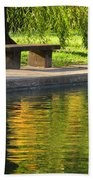 Bench And Reflections In Tower Grove Park Beach Towel