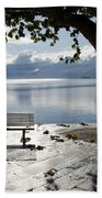 Bench And Tree On The Lakefront Beach Towel