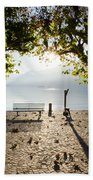 Bench And Trees On The Lake Front Beach Towel