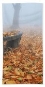 Bench In The Fog Beach Towel