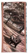 Bench In The Park Triptych  Beach Towel by Susanne Van Hulst