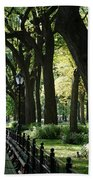Benches Trees And Lamps Beach Towel