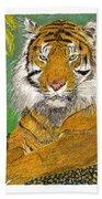 Bengal Tiger With Green Eyes Beach Sheet
