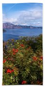 Berries By The Lake Beach Towel
