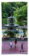 Bethesda Fountain Overlooking Central Park Pond Beach Towel by Paul Ward