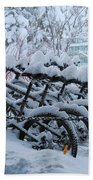 Bicycles In The Snow Beach Towel