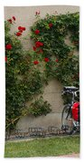 Bicycles Parked By The Wall Beach Towel