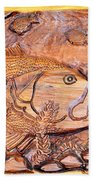 Big Mouth Bass Carving Beach Towel