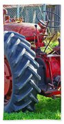 Big Red Rubber Tire Tractor Beach Towel