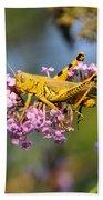Big Yellow Grasshopper Beach Towel