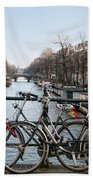 Bikes On The Canal In Amsterdam Beach Towel