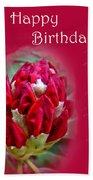 Birthday Card - Red Azalea Buds Beach Towel