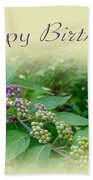 Birthday Greeting Card - American Beautyberry Shrub Beach Towel