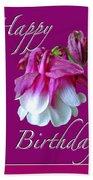 Birthday Greeting Card - Columbine Flower Beach Towel