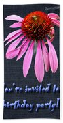 Birthday Party Invitation - Coneflower Beach Towel