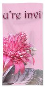Birthday Party Invitation - Pink Flowering Bromeliad Beach Towel