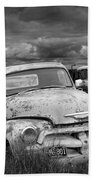 Black And White Photograph Of A Junk Yard With Vintage Auto Bodies Beach Towel