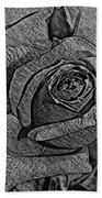 Black And White Rose Sketch Beach Towel