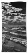 Black And White Shoreline Of Lake Beach Towel