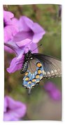 Black Blue And Orange Butterfly V3  Beach Towel