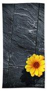Black Schist Flower Beach Towel by Carlos Caetano