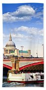 Blackfriars Bridge And St. Paul's Cathedral In London Beach Towel