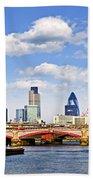Blackfriars Bridge With London Skyline Beach Towel