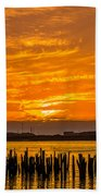 Blazing Humboldt Bay Sunset Beach Towel