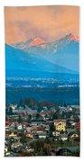 Bled City And Breg. Slovenia Beach Towel