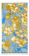 Blue And Gold Floral Abstract Beach Towel