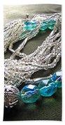 Blue And Silver Bead Bracelet Beach Towel