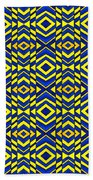 Blue And Yellow Chevron Pattern Beach Towel