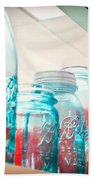 Blue Ball Canning Jars Beach Towel