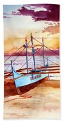 Blue Boat On The Shore Beach Towel